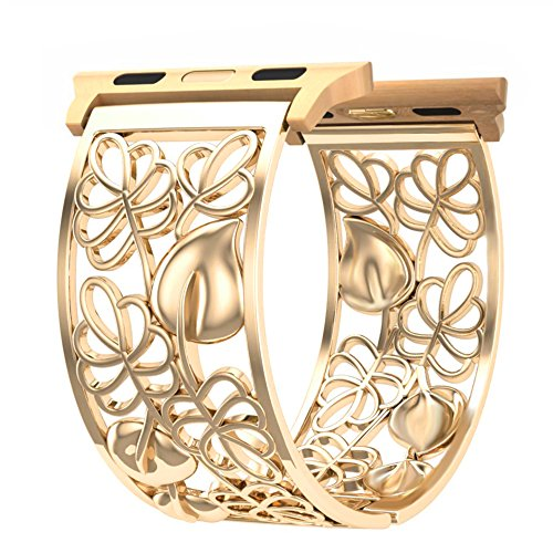 Compatible with iWatch Band 38mm Women, Dressy Hollow Out Floral Bangle Bracelet Sport Strap Replacement Compatible with Apple Watch Series 3, 2, 1, Nike+ Sport, Hinged Cuff, Feminine Wristband, Gold -