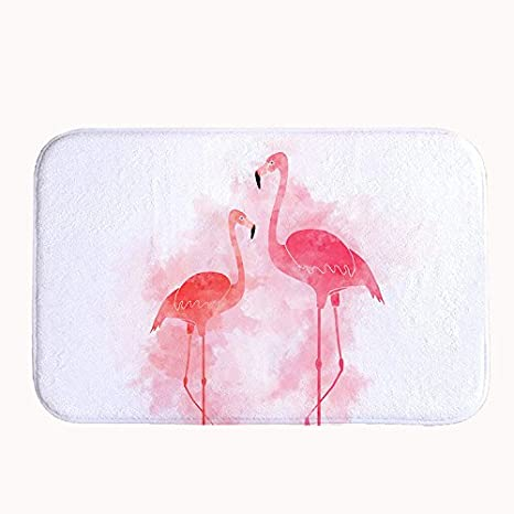 Yilooom Pink Flamingos Bath Mat Coral Fleece Area Rug Door Mat Entrance Rug Floor Mats for Front Outside Doors Entry Carpet 40 X 60 X 1.3cm