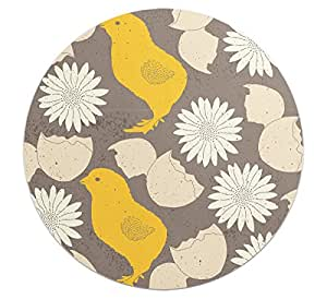 Loud Universe Round Cute Chick and Egg Pattern Flexible Non Slip Mouse Pad