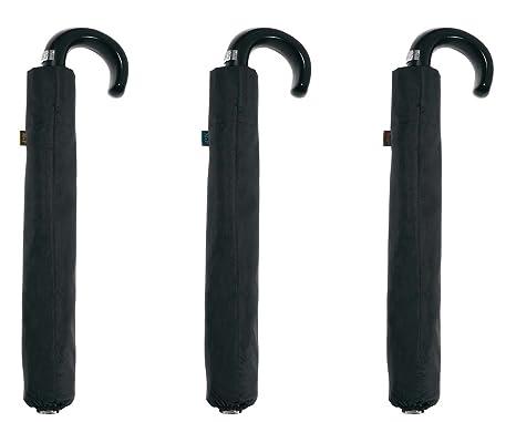 Paraguas plegable clásico M&P negro, automático mango curvo