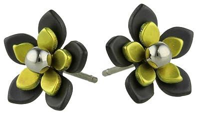 Amazon ti2 titanium womens black back five petal flower stud ti2 titanium womens black back five petal flower stud earrings lemon yellow mightylinksfo