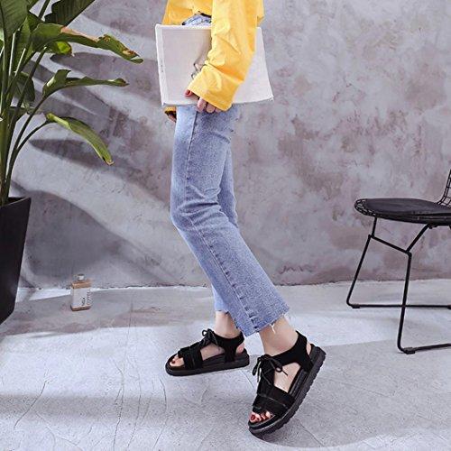 Sandales Sandales Dames Occasionnels Ouvert Plage Chaussures D'été Filles Bout Janly® Womans Antidérapants À Plates Noir Chaussures EFqBzfp