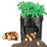 Y8HM 2 Pack 10 Gallon Garden Potato Growing Bags, Durable Planter Bag Access Flap Handles Harvesting