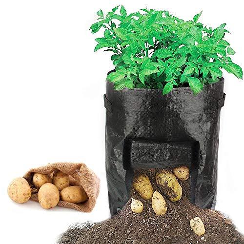Y8HM 2 Pack 10 Gallon Garden Potato Growing Bags, Durable Planter Bag Access Flap Handles Harvesting by Y8HM