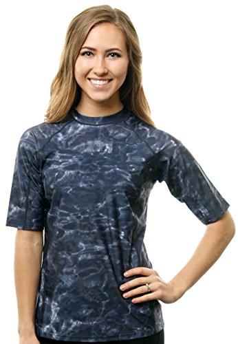 Aqua Design Women Short Sleeve Loose Fit Sun Protection Rash Guard Swim Water Shirt, Black Water, XL