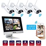 Bechol 1080P HD Wireless Security Surveillance IP Camera System 4CH WiFi NVR with 10.1'' LCD Monitor,and 4pcs Waterproof Video Inputs Security Camera 100ft Night Vision+UL Adapter No Hard Drive