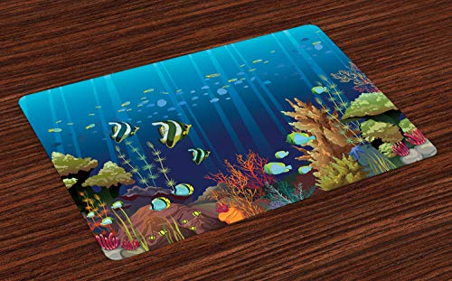 Ambesonne Under The Sea Place Mats Set of 4, Coral Reef with Sea Creatures Tropical Oceanic Life Exotic Fishes and Seaweed, Washable Fabric Placemats for Dining Room Kitchen Table Decor, Multicolor
