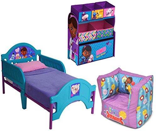Disney Bundle of 3: Doc Mcstuffins Multi-bin Toy Organizer, Doc Mcstuffins Square Bean Bag Chair, Disney Doc Mcstuffins Toddler Bed