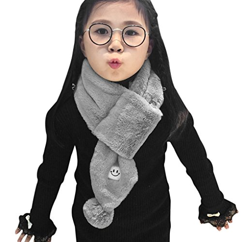 Kids Teens Winter Warm Scarf Neck Warmer Boys Girls Thick Thermal Collar Wraps Neckerchiefs Toddler Baby Cute Plush O Ring Neck Scarves Shawl with Fluffy Pompom Ball,Xmas New Year Gift for Children
