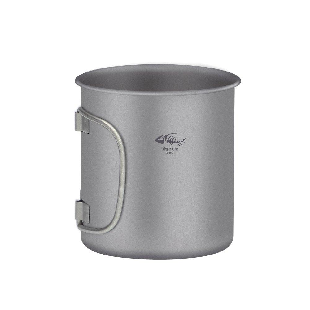 Fairylove Outdoor Titanium Mug Cup 450ml Lightweight Portable Foldable Handle Metal Water Mug Container Camping Hiking Picnic Tableware