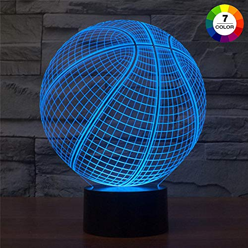 AZIMOM 3D Illusion Night Light, 7 Colors Changing Nightlight for Kids with Smart Touch Optical Illusion Bedside Lamps Bedroom Home Decoration for Kids Boys & Girls Women Birthday Gifts (Basketball)