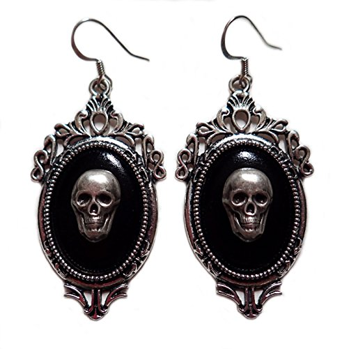Moon Maiden Jewelry Gothic Victorian Silver Framed Skull Cameo Earrings (Cameo Framed Earrings)