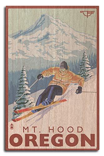 Lantern Press Ski Mt. Hood, Oregon - Timberline Lodge (10x15 Wood Wall Sign, Wall Decor Ready to Hang)