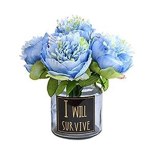 U-yaya Artificial Peony 5Pcs Silk Flowers Bouquets Room Home Office Wedding Party Flowers Decoration 47