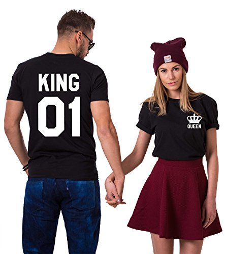 King Queen Couples T-Shirts Crown Logo Set His Hers Cotton Matching Tees Lovers (Black + Black, King-M + Queen-M) ()