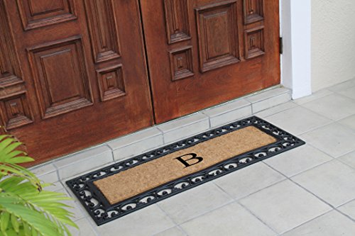 Decorative Double Mats (First Impression Exclusive Hand Crafted Myla Monogrammed Entry Doormat, Large Double Door Size (17.7 x 47.25)-RC2004B)