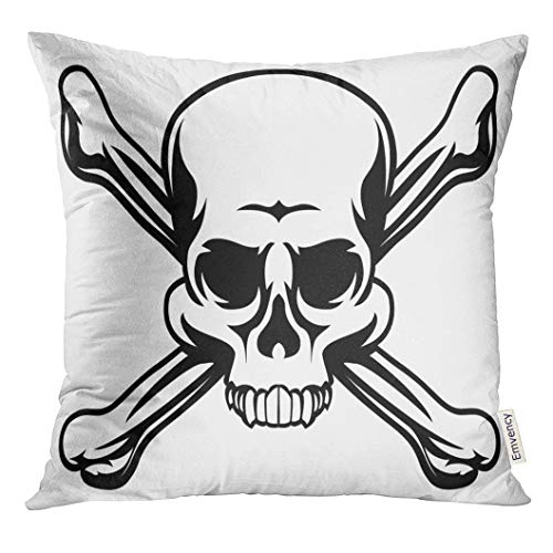 Emvency Throw Pillow Cover Cross Skull and Crossbones Like Pirates Jolly Roger Sign Bone Decorative Pillow Case Home Decor Square 16x16 Inches Pillowcase ()