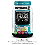 INVIGOR8 Superfood Shake Gluten-Free and Non GMO Meal Replacement Grass-Fed Whey Protein Shake with Probiotics and Omega 3 (645g) … (French Vanilla)