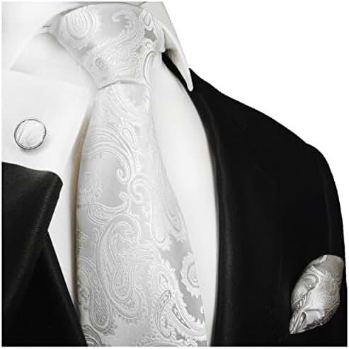 Paul Malone Necktie Set, 100% Silk, Silver-White Paisley