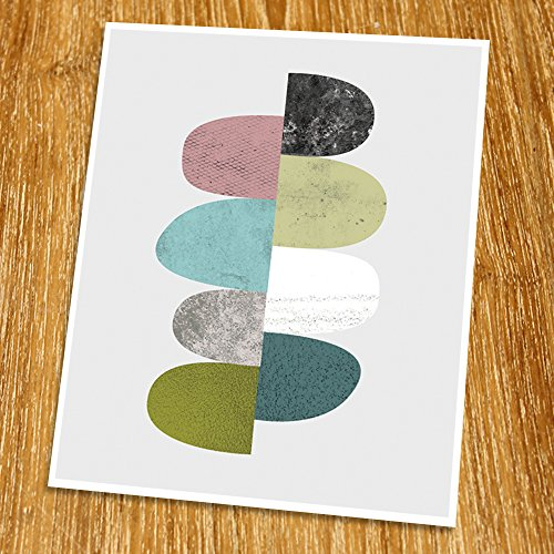 Abstract Art Poster (Unframed), Geometric Art, Modern Art Print, Mid-century Art, Cafe, Industrial, Loft, Circle Art, 8×10″, TD-002 51xrk7ZTbaL