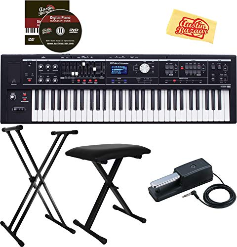 Roland VR-09-B 'V-Combo' 61- Note Keyboard Bundle with Adjustable Stand, Bench, Sustain Pedal, Instructional DVD, and Austin Bazaar Polishing Cloth