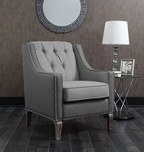 - Iconic Home FAC2704-AN Mixed Material Linen Leatherette Nailhead Ethan Accent Chair, Grey