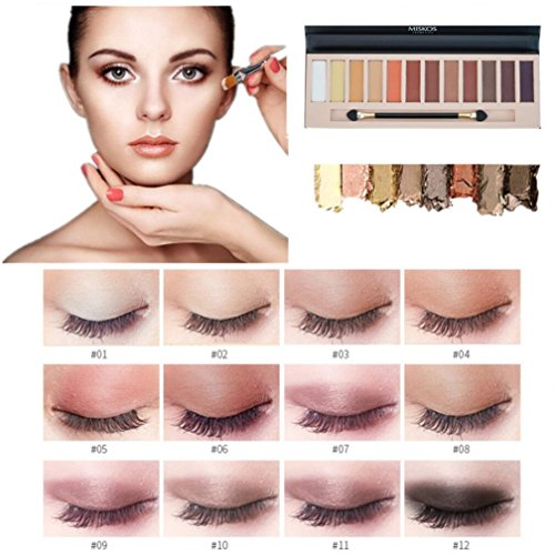 2pcs Nude Eyeshadow Palette 12 Color Naked Matte Shimmer Glitter Pigment Waterproof Natural Eye Shadow Pallete Professional Cosmetic Makeup Kit (A+B)