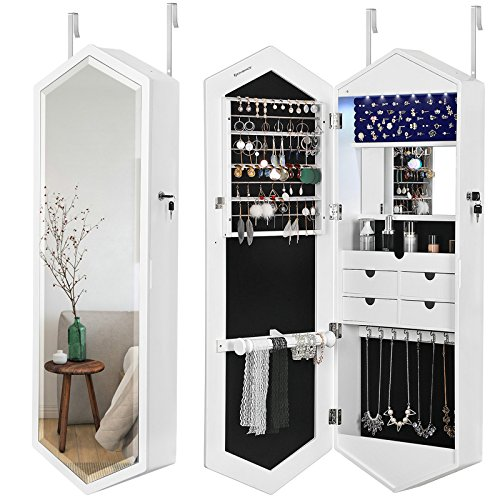 - SONGMICS 6 LEDs Jewelry Cabinet with Mirror, Lockable Wall Door Mounted Jewelry Armoire Organizer, Fashion Diamond Shape White UJBC73WT