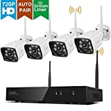 [6 LEDs & Wider FOV] xmartO Auto-Pair Wireless Security Camera System Outdoor, 4 Channel 1080p FHD NVR, 4pcs 720p HD WiFi Cameras with Audio Compatible, 100ft IR Night Vision, Dream Liner WiFi Relay