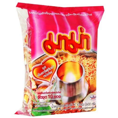 Mama Instant Noodles Yen Ta Fo Tom Yum Hot Pot Flavor 60 G. Pack 10