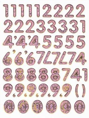Rosa Numeros De Numeros Digitos Pegatina 15 Mm De Alto 135 Mm X 100