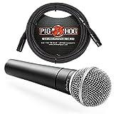 Shure SM58 Cardioid Vocal Microphone & Pig Hog Mic Cable, 20ft XLR - Bundle (Black) (Color: Black)