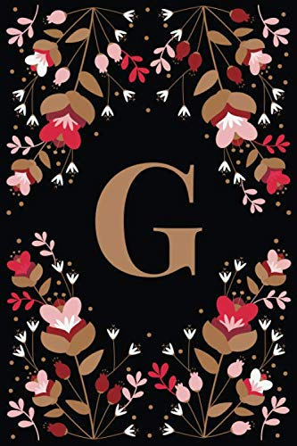 G: Elegant Floral Initial G Monogrammed Composition Notebook Journal - 110 Lined Pages (55 Sheets) - 6