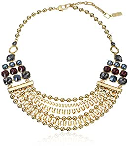 Kenneth Cole New York Bond and Burgundy Mixed Faceted Stone Multi Row Necklace