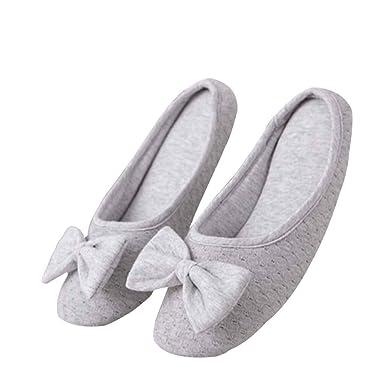 Zapatillas De Casa Zapatillas Antideslizantes Para El Hogar Botines Caseros De Algodón Con Nudo De Lazo Para Mujer Linda Bota De Invierno: Amazon.es: Ropa y ...