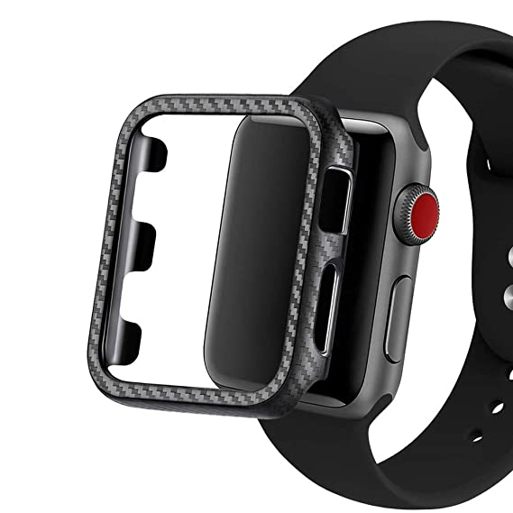 online retailer 954d2 86d8f Carbon Fiber Texture Apple Watch Case Series 4/3/2/1 - Hard PC Frame Case  High-Gloss/Twill Weave Finish Protective Bumper Cover Compatible  38/40/44/42 ...