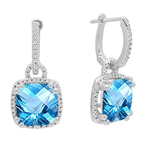 Dazzlingrock Collection 10K 8 MM Each Cushion Cut Blue Topaz & Round White Diamond Ladies Dangling Drop Earrings, White Gold