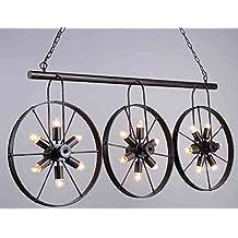 Wrought Iron Vintage Industrial Style Spoke Wheel Linear Chandelier Billiard Pool Table Light Lighting