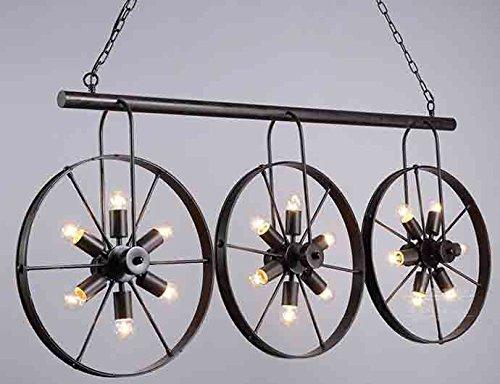 Wrought Iron Vintage Industrial Style Spoke Wheel Linear Chandelier - Industrial style pool table