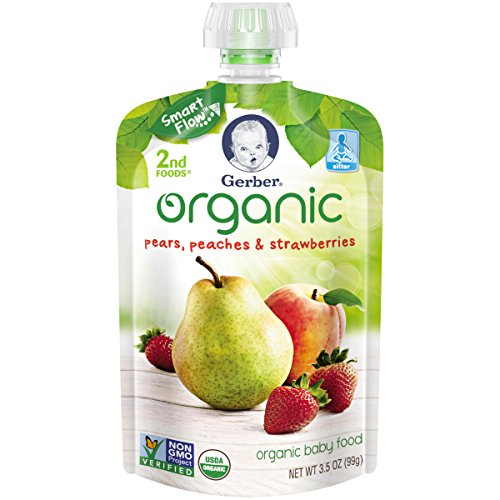 Gerber Organic 2nd Foods Baby Food, Pears, Peaches & Strawberries, 3.5 oz Pouch, 12 count