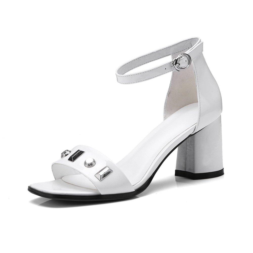 LNGXE Pantoletten Damenschuhe Sandalen Sandaletten Sandaletten WSXY-L0515 Rivet Zubehör Sandaletten Sandalen Lack Schlappen Hausschuhe Schuhe 534596