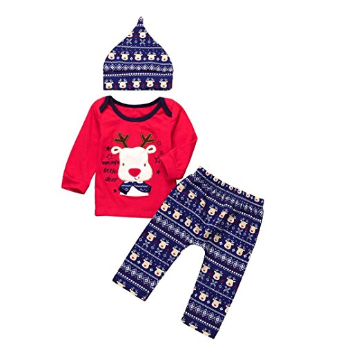 (Raptop Newborn Christmas Clothes, Baby Girls Boys Letter Deer Cute Outfit 3Pcs Tops+Pants+hat Set (6-12 Months,)
