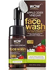 WOW Organic Apple Cider Vinegar Foaming Face Wash with Built-in Brush - No Parabens, Sulphate and Silicones, 100 ml