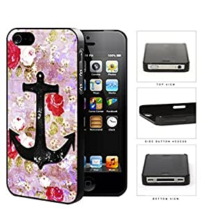 Vintage Roses And Anchor Dirty Grunge Hard Plastic Snap On Cell Phone Case Apple iPhone 4 4s