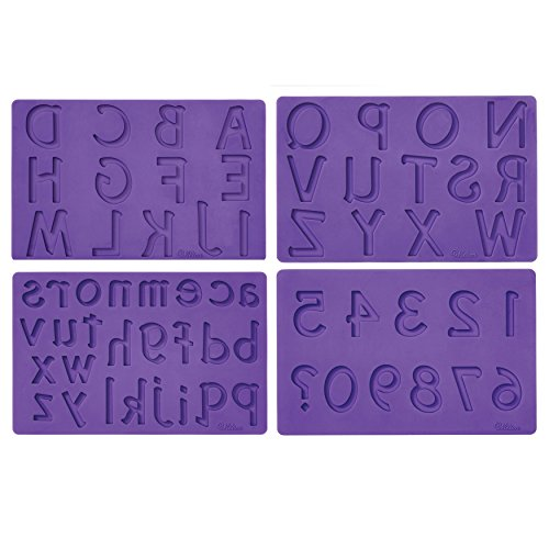 Wilton Silicone Letters and Numbers Fondant and Gum Paste Molds, 4-Piece - Cake Decorating Supplies (Numbers Silicone)