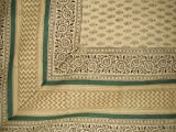 Homestead Bagru Block Print Tapestry Cotton Bedspread 108'' x 88'' Full-Queen Barley