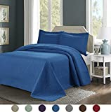 3 Piece Superior Comfy Embossed Bedspread Set,Oversized Ultrasonic Thermal Pressing Embossed Coverlet Set,Moderate Weight Bed Spread,TINOS(Queen,Turquoise)