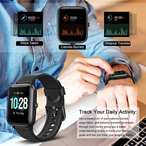 MSRVI Fitness Tracker Watch for Men Women Smart Watch for Android Phones iOS Phones, IP68 Waterproof Pedometer Watch with Heart Rate Monitor Step Calories Tracker Sleep Monitor 3