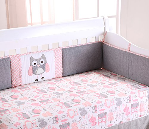 Levtex Baby Night Owl 4 Piece Crib Bumper Set - Pink