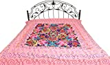 Bedspread from Gujarat with Embroidered Animals - Pure Cotton - Color Prism Pink Color